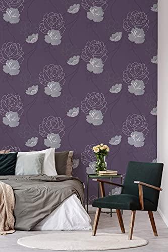 Vliestapete Blumen Vintage Floral Tapete Bläter Landhaus Rosen für Wohnzimmer Schlafzimmer Lila Weiße Blumen Made in Germany