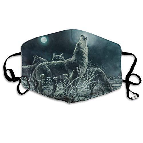 Herde Wölfe bei Nacht Gesichtsbedeckung Mundbedeckung