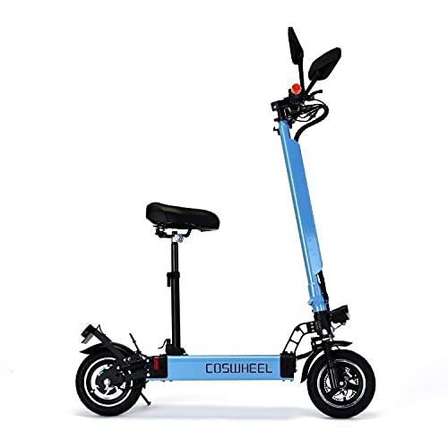 電動スケーター COSWHEEL EV Scooter 公道可 次世代型折り畳み式電動キックボード2WAY乗りEVスクーター 公道走行可 ナンバー取得可能 大容量バッテリー搭載 サドル付け外し可能 (ブルー)