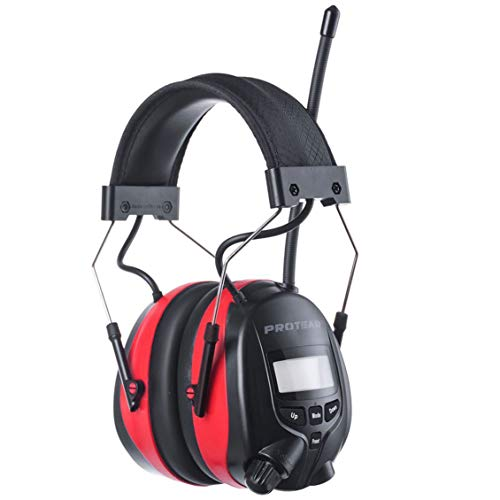 PROTEAR AM/FM Bluetooth Radio Headphones, Noise Reduction Safety Earmuffs, Rechargeable Hearing Protection for Lawn Mowing Outside Work(Red)