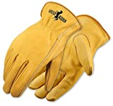 Galeton Rough Rider Premium Leather Driver Gloves With Elastic Back Gold, Large (25001PR-L)