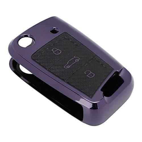 Cubierta de la caja de la llave del coche, cubierta de TPU caso del control remoto del coche, cubierta de la llave inteligente del coche para los hombres del coche SEAT Ateca (púrpura)