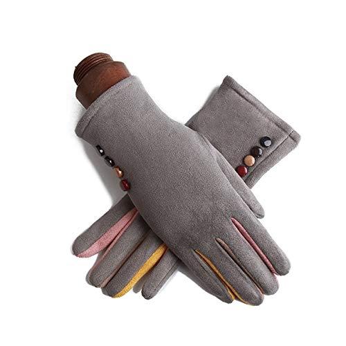 Guantes de Ciclismo con botón de Dedo Completo de Cachemira de Moda de conducción con Pantalla táctil cálida de una Sola Capa para Mujer de Invierno - J23 Gris