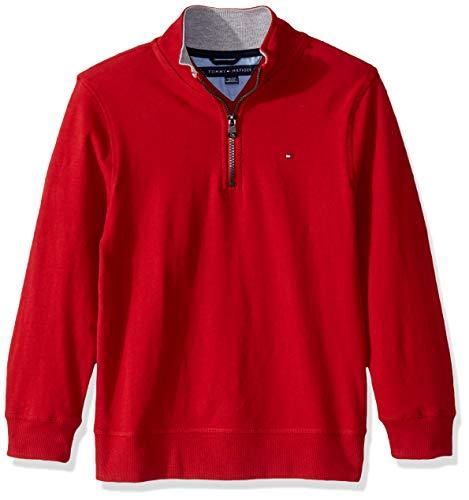 Tommy Hilfiger Boys' Big Quarter Zip Sweater, Flag Scarlet Sage, X-Large (20)