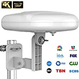 [2020 Latest] 1byone Outdoor TV Antenna 360° Omni-Directional Reception Digital Amplified 4K 1080P HDTV Antenna VHF&UHF Long Range for Outdoor Attic RV Use Weather Resistant - 39ft RG6 Coax Cable