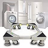 Furniture Dolly Rollers Adjustable Movable Base with 4 Rubber Locking Swivel Wheels and 4 Strong Feet Yellow Refrigerator Fridge Stand Base for Refrigerator Washing Machine Washer Dryer