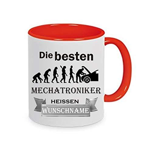 Crealuxe Tasse m. Wunschname Die besten Mechatroniker heißen (Wunschname) - Kaffeetasse mit Motiv, Bedruckte Tasse mit Sprüchen oder Bildern
