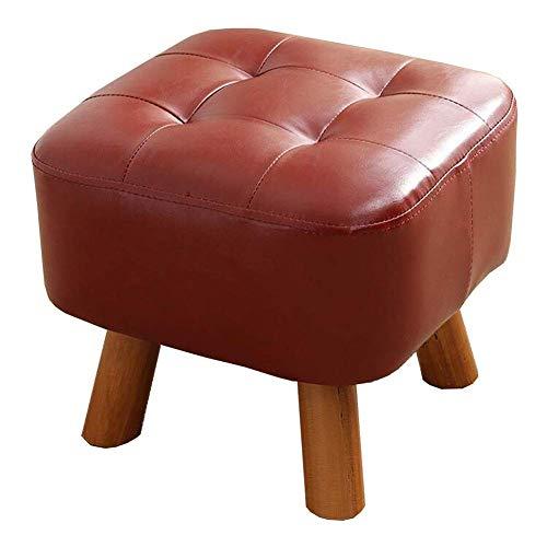 GPWDSN voetenbank, houten poot, modus, low shock, massief houten frame, PU-leer, zitkussen, hoge belastbaarheid, spons multifunctioneel, rood