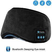 Jinxuny Bluetooth Sleeping Eye Mask Auriculares Sleeping Travel Música Eye Cover Wireless Lavable Sleep Mask Máscara de Ojo Ultra Cómoda con Auricular para Hombre Mujer Durmiendo (Color : Black)