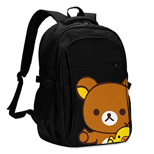 HX Rilakkuma Good Travel Laptop Backpack, Work Bag Lightweight Laptop Bag with USB Charging Port, Anti Theft Business Backpack, School Rucksack