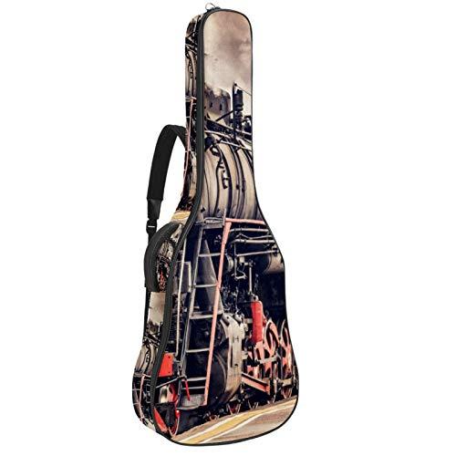Bolsa de guitarra retro con diseño de tren de vapor acolchado para...