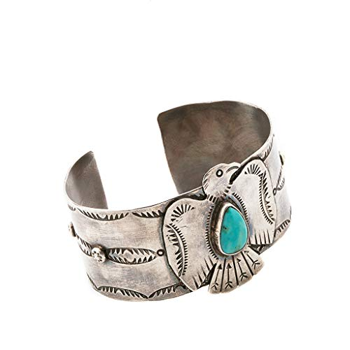 Indianerschmuck Armreif Thunderbird Donnervogel Adler Türkis Silber Westernschmuck Vintage Look by Fred Begay
