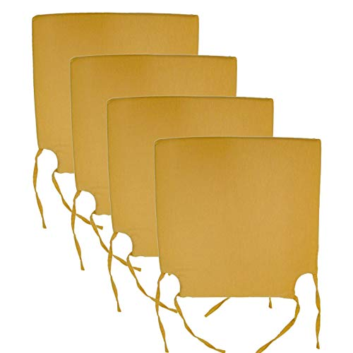 Arcoiris Pack de 4 Cojines de Asiento y Silla, 40x40X3cm, Cojín Silla Loneta, Cómodos, Resistentes, para Cocina, Cuarto, Sala, Jardín, Terraza, Patio, (Espuma, Gris) (Pack 4 Cojines, Beige)
