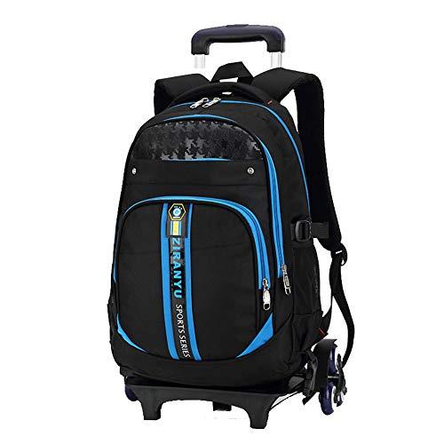 XWWS Wheeled School Backpacks - Boys Trolley Schoolbag, Detachable Kids Trolley Bag, Best Gift,Blue