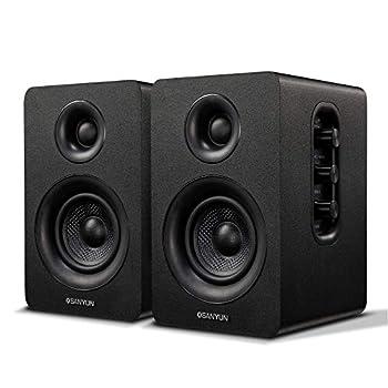 Sanyun SW208 3  Active Bluetooth Bookshelf Speakers – 60W Carbon Fiber Speaker Unit - aptX Codec - Built-in 24 bit DAC - Dynamic 3D Surround Sound - Computer PC Monitor Gaming Speakers  Pair Black