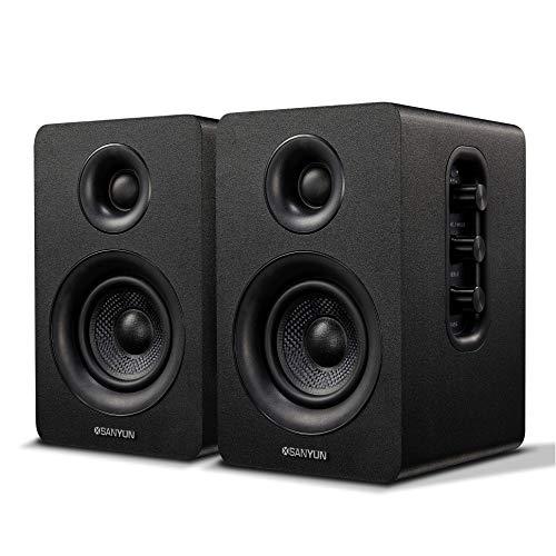 Sanyun SW208 3  Active Bluetooth Bookshelf Speakers – 60W Carbon Fiber Speaker Unit - aptX Codec - Built-in 24 bit DAC - Dynamic 3D Surround Sound - Computer PC Monitor Gaming Speakers (Pair, Black)