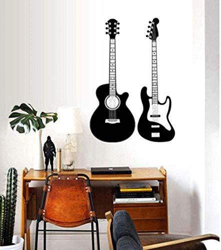 Etiqueta de la pared de vinilo removible etiqueta de la pared guitarra decoración de moda PVC músico música sala de estar papel tapiz decoración del hogar 42X62Cm