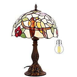 Tiffany Table Lamp Stained Glass Double Tropical Birds Desk Reading Light W12H18 Inch (LED Bulb Included) S803 WERFACTORY Lamps Lover Living Room Bedroom Study Coffee Bar Bedside Antique Crafts Gifts