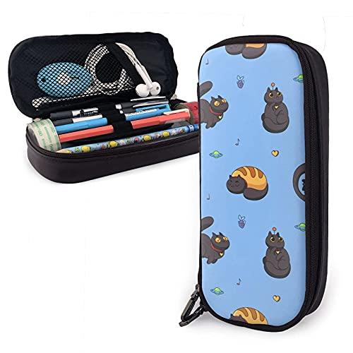 Divertidos gatos negros durmiendo pez nave espacial estuche de cuero para lápices, gran capacidad, con cremallera para bolígrafos para lápices, almacenamiento, bolsa de cosméticos