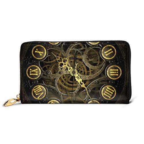 Reloj Gear Impreso Cartera de cuero para mujer con cremallera bolsa de embrague de viaje tarjeta de crédito titular monedero, Black (Negro) - Black-48