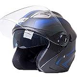 SUNHORSE バイクヘルメット ジェット ヘルメット 軽量 Bike Helmet 四季通用 半帽 カッコいいヘルメット 防風防雨メット おしゃれなバイクヘルメット 内張り丸脱着可 XL(60-61cm)艶消黒・青
