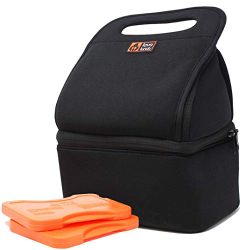 Lava Lunch Lunch Box Insulated Lunch Bag | Large Heated & Cooled Double Deck Lunch Box for Men, Women, Kids (Black) | Comes with Heat Packs (Lava Rocks)