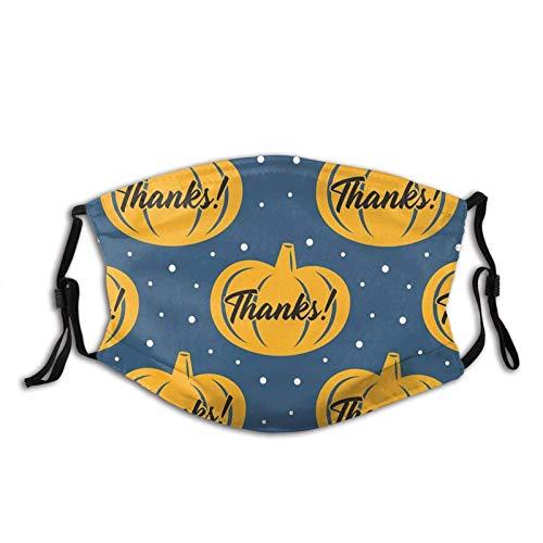 Máscara facial de pavo de Acción de Gracias, reutilizable, lavable, bufandas de moda para adultos con 2 filtros, cuello de Acción de Gracias, calabaza, 1 unidad