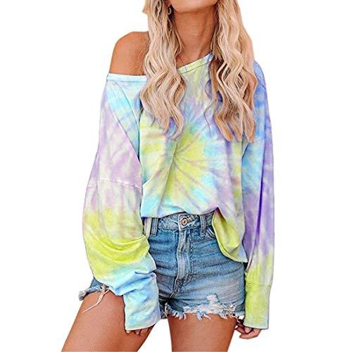 SEXOX Women's Tie Dye Printed Long Sleeve Casual Round Neck Sweatshirt Loose Pullover Tops Shirts Off Shoulder Batik Shirt Slim Fit
