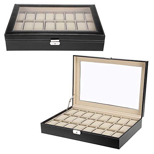 Zogin Estuche para Relojes, Caja con 24 Compartimentos para Relojes,joyería, Color Negro (Caja para 24 Relojes)