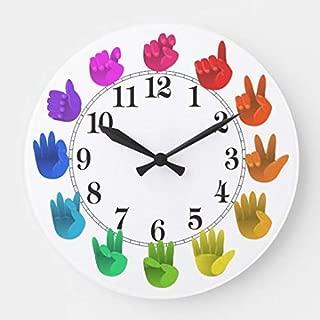 ASL Sign Language Rainbow Color Wheel Light Wood Wall Clocks Silent Noticking for Living Room Kids Bedrooms Nursery Kids Room Wall Art Decor Christmas Birthday Gifts