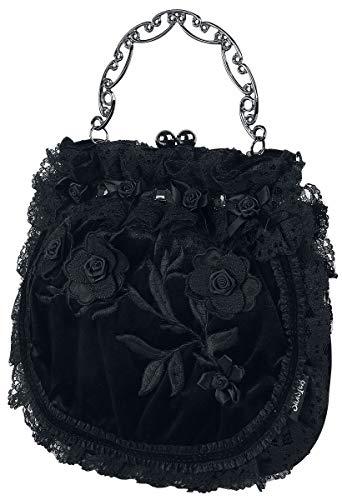 Sinister Gothic Leaves and Roses Frauen Handtasche schwarz