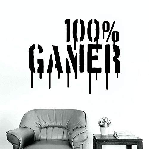 100% dla graczy Gamer fajne PS3 PS4 XBOX chłopcy naklejki ścienne wystrój domu salon sztuki tapety winylowe dla dzieci pokój dekoracji wymienny S005_Black