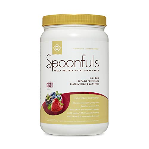 Solgar Spoonfuls Vegan Protein Powder - Mixed Berry Flavor, 14 Servings - Nutritional Shake with Probiotics, Digestive Enzymes, Flaxseed - Non GMO, Gluten & Dairy Free - 3 Scoops Per Serving