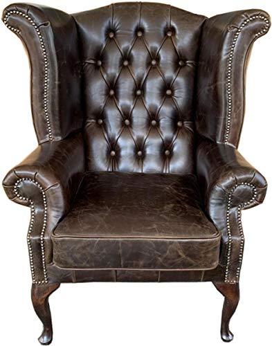 Casa Padrino Echtleder Sessel Vintage Braun Wohnzimmer Ohrensessel Möbel