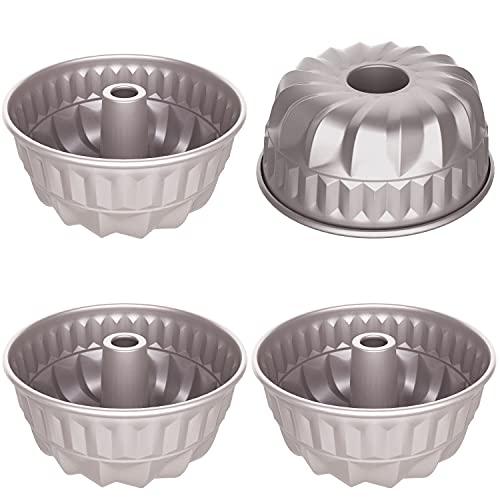 CHEFMADE 4PCS Mini Bundt Pan Set, 4-Inch Non-Stick Fluted Tube Pans Kugelhopf Mold Cake Pan for Oven Baking (Champagne Gold)