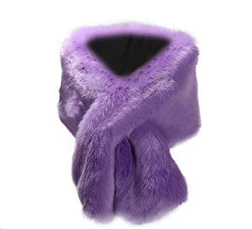 Kevins Bridal Women's Faux Fur Shawl Wraps Cloak Coat Sweater Cape for Evening Party Lavender