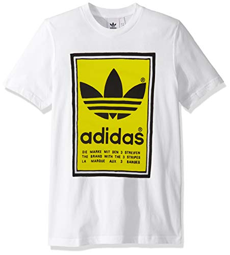 adidas Originals Men's Filled Label Sweatshirt, White/Yellow, X-Small