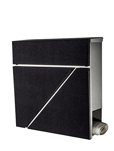 Brievenbus/mailbox/roestvrij staal 555 front in diamantzwart met krantenvak/ALLEEN 1 x verzendkosten voor alle bestellingen samen.