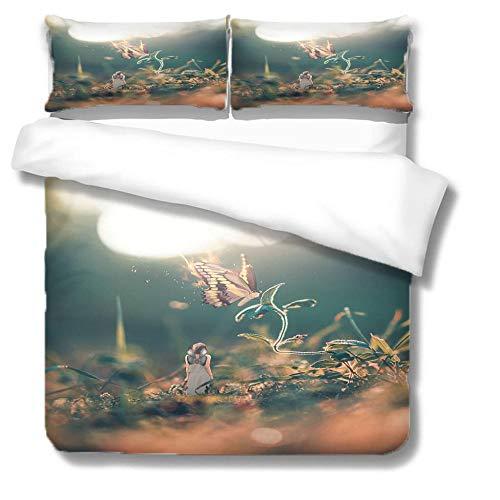 Deluxe-Bettwäsche-Set aus Mikrofaser Schmetterling, Pflanze, Mädchen Versteckter Rostschutzreißverschluss und Umschlagkissenbezug 135x200 cm