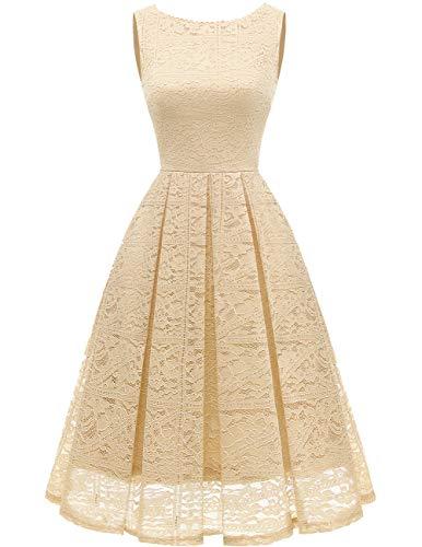 bridesmay Damen elegant Cocktailkleid Spitzen Ärmellos Brautjungfernkleid Midi Ballkleid Champagne L