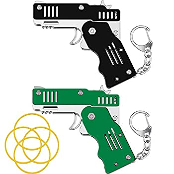 2 Packs Rubber Band Gun Toy Mini Metal Folding Rubber Gun Rubber Launcher Toy Gun with Keychain for Shooting Game Outdoor Activities  Black and Green