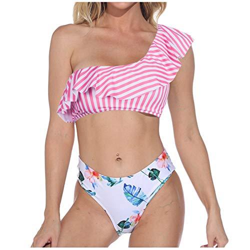 VCAOKF Conjunto de tirantes para mujer de un solo color con estampado de tirantes, sexy y de rayas, tallas S/M/L/XL Rosa. L