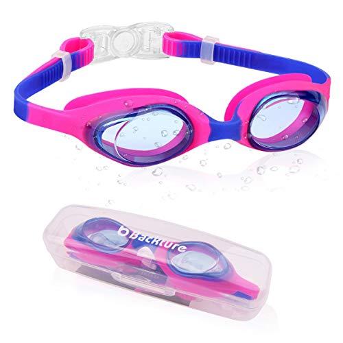 BACKTURE Kinder Schwimmbrille, Schwimmbrillen Antibeschlag UV Schutz 180 ° Kristallklare Sicht ohne Leckage und Einstellbar Weiche Silikon Nasenbrücke für Unter 12 Jahren Erwachsene Unisex