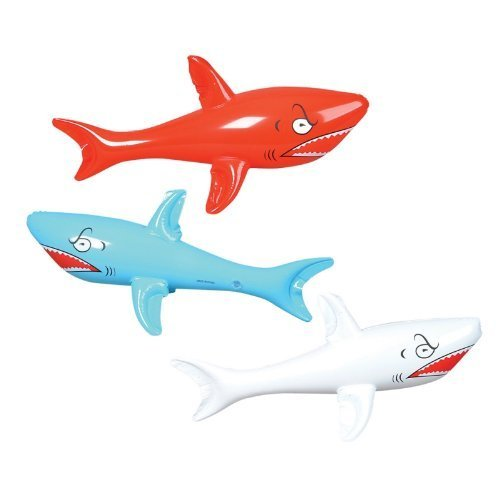 3 HUGE Jumbo - 46 Inflatable SHARKS/Shark INFLATES/Party DECORATIONS/DECOR/FAVORS/POOL TOYS