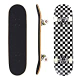 Seasonland Skateboard 7 couches 78,7 x 20,3 cm Pro Skateboard complet en bois d'érable pour adolescents adultes débutants filles garçons enfants (nuit)