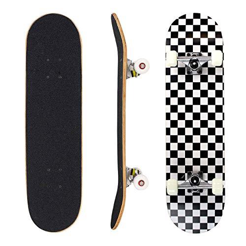 Seasonland Skateboard professionnel, 7couches en bois d'érable, 31 x 8, skateboard complet, longboards pour adultes, adolescents, enfants, débutants, garçons ou filles, modèle Nuit (Night)