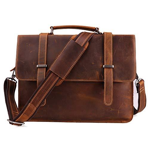 Crazy Horse Leather Retro Leather Men's Bag Briefcase Casual Fashion Men's Handbag Horizontal Shoulder Computer Bag (Brown)