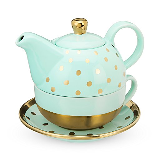 Pinky Up Addison Aqua Dot Tee-Set für eine Person, Türkis und Gold