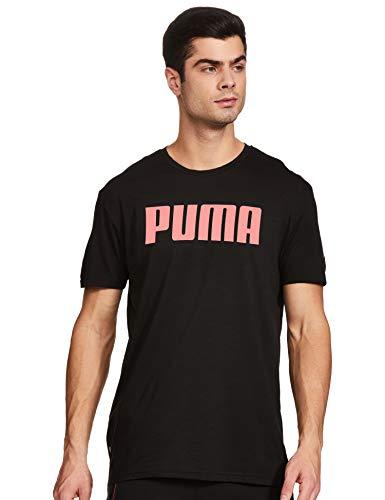 PUMA Herren SS Graphic Tee T-Shirt, Black-Ignite Pink, XL