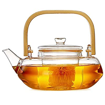 800ml Glass Teapot With Glass Infuser, Teapot With Strainer For Loose Tea, Safe On Stovetop, Tea Pot With Bamboo Handle (800ML/28oz)